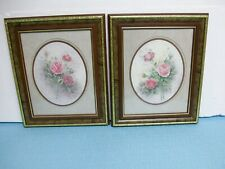 Homco / Home Interior-Set Of 2-Matted Roses Pictures-Signed Wyona Newton