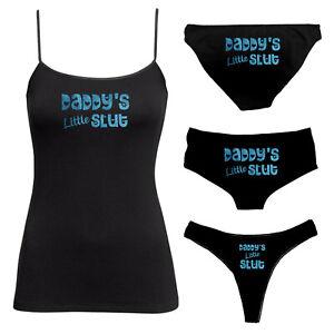 Daddy's Little Slut - Blue Glitter Knickers Vest Twin Set - Thong, Boy Shorts 94