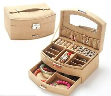 Travel Medium Size Lockable Jewelry Case with Mirror and Drawer - Brown/Tan