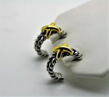 A060 Chic Unique CLASSIC Design Style X stretch Cable hoop Post Fashion Earrings