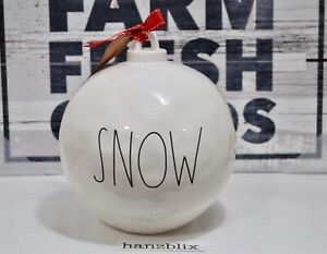"Rae Dunn Christmas Ornament Figural Ball SNOW Medium 7.5"" D x 8"" H NEW '19"