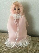 "Vintage Decorative 8"" Blonde Hair Blue Eyed Bisque Cloth Doll"