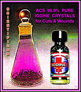 lODINE CRYSTALS Element 30gm / 1oz. for Disinfecting Wounds & First Aid Care