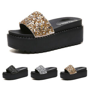 Womens Thick Platform Sequin Sandals Open Toe Wedge Shoes Slip On Glitter Mules