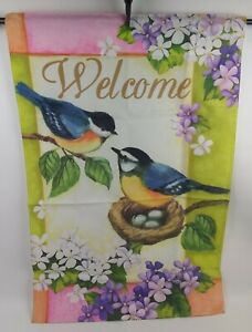 """Nesting Chickadees Welcome House / Door Flag Single Sided Top Pocket  24"""" x 36"""""""