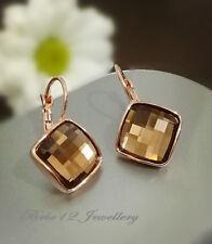 Brown/Grey Diamond Shape Crystal Earring/RGE643/354