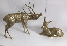 More details for 2 vintage large solid brass stag and doe deer set heavy good quality