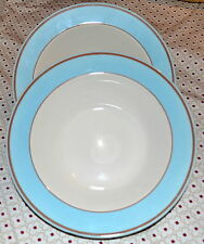 2 Homer Laughlin Rimmed Soup Bowls with Blue and Brown Band