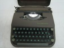 Vintage Smith-Corona Skyriter Typewriter Green keys Portable Metal Case