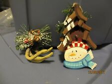 SET OF 2 SNOWMAN BIRDHOUSE AND ANTLER ORNAMENTS CHRISTMAS DECOR