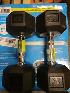 NEW 25lb Dumbbells ignite Rubber Coated Hex Pair -TOTAL 50LBS - SHIPS FREE