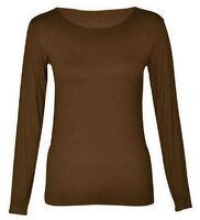 New Women Ladies Plain T Shirt Long Sleeve Scoop Neck T Shirt Top UK Size 8-26