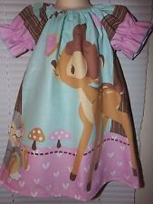 Custom made Bambi Forest Bunny  Dress - Size 3t/4t -21 in length
