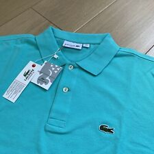 BNWT LACOSTE Polo Shirt | Size 6 (XL) | Aqua Blue Slim Fit Short Sleeve Devanlay