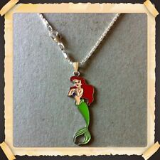 """Disney Little Mermaid   METAL CHARM WITH 16.5"""" SILVER PLATED SNAKE NECKLACE NEW"""