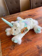 """New ListingCommonwealth Unicorn 15"""" Plush White Pastel Mint Rainbow Yarn Mane 2001 Nwt"""