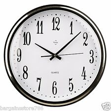 Wall clock Steel With Silver Frame Analogue Kitchen Home Office Wall Hanging New