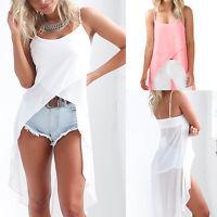 Women Chiffon Loose Vest Sleeveless Blouse Ladies Casual Tank Tops Long T Shirt