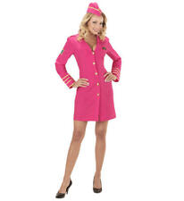 Womens Ladies Pink Air Hostess Flight Attendant Fancy Dress Costume Outfit S