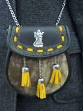 New Scottish Rabbit Fur Sporran With 3 Tassels & Belt & Chain 100% Leather
