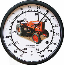 """New Allis Chalmers Model B Tractor Thermometer 10"""" Round Years 1953 3/4 View"""