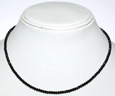 "15"" Strand Necklace 925 Sterling Silver Black Spinel 3mm Round Cut Beads H1174"