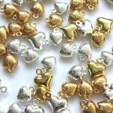 100 Assorted Puff Heart Charms 7-11mm Selection 4 Designs