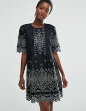 FRENCH CONNECTION BLACK TRIBAL GREEN JOSEPHINE COTTON SMOCK DRESS RRP £135