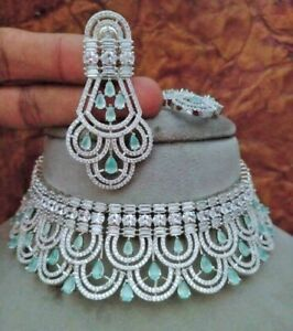 Bollywood Style Indian White Gold Plated Choker Necklace CZ AD Jewelry Set