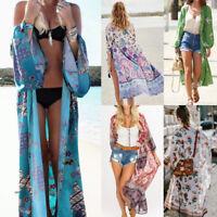 Women Bohemian Chiffon Coat Casual Cover Up Beach Long Plus Size Kimono Tops