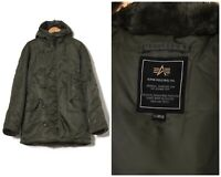 Vintage Mens ALPHA INDUSTRIES N-3B Parka Jacket Army Green Size XL