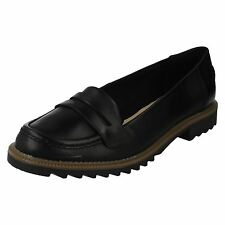 Ladies Griffin Milly Black Leather Loafer Shoes by Clarks retail £49.99