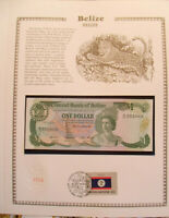 Belize Banknote 1 Dollar 1987 P 46c UNC  w/FDI UN FDI FLAG STAMP Birthday 2003