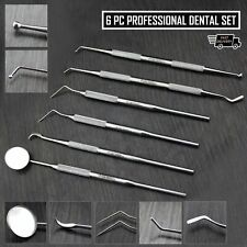 Dental Scaler Pick Tool With Inspection Mirror And Tweezers 6 Pieces Set Haryali