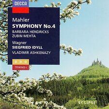 MAHLER: SYMPHONY NO. 4 - WAGNER: SIEGFRIED IDYLL / HENDRICKS, MEHTA,... / CD