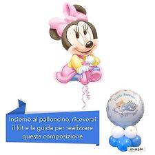 COMPOSIZIONE Palloncino BABY MINNIE con base palloncini Addobbi Nascita bimba