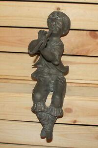 Antique hand made bronze flute player boy figurine