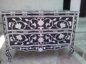 Indian Handmade Bone Inlay 2 Drawer Dresser Sideboard Buffet