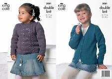 Baby Double Knit Lacy Aran Style Cardigan Sweater Knitting Pattern 22 - 28 Inch