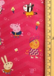 Peppa Pig fabric UK 100% cotton material metres friends Pinks giraffe Zoe zebra