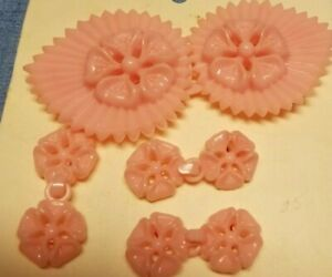 Lot of 3 rare gorgeous large vintage 1960s unused structured thick decorative purplepink ceramic-looking plastic buttons with 2 holes