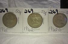 Franklin Half Dollar Lot 1961 & 1962-P 1962-D (3 coins) Lot # 269