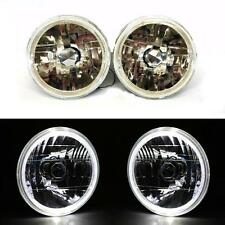 "7"" Round Semi-Sealed Diamond Cut White Halo Angel Eyes Headlights Head Lamp Pair"