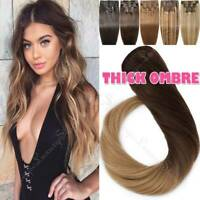 Clip In Double Weft Full Head 170G+ REAL Human Hair Extensions Remy Thick OMBRE