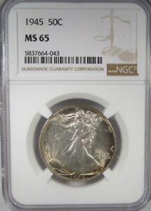 1945-P Silver Walking Liberty Half Dollar NGC MS65 Coin AI960