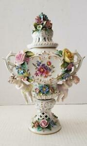 Antique Sitzendorf Porcelain Hand Painted Potpourri Urn, 13″H, PA5698CB