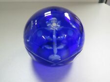 "Moser COBALT BLUE Cut To Clear Glass PAPERWEIGHT ORB - 4 1/2"" dia. VINTAGE"