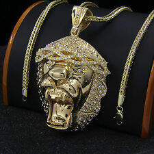 "Mens Gold Plated XL Hip Hop Gorilla Lion Pendant 36"" Franco Chain Necklace D595"