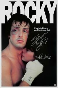 Sylvester Stallone & Talia Shire Autographed ROCKY 24x36 Movie Poster ASI Proof