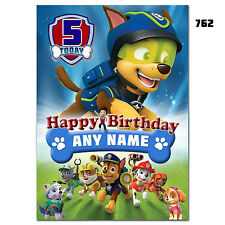 Large Personalised Birthday card; PAW Patrol; Any age name for little /big (764)